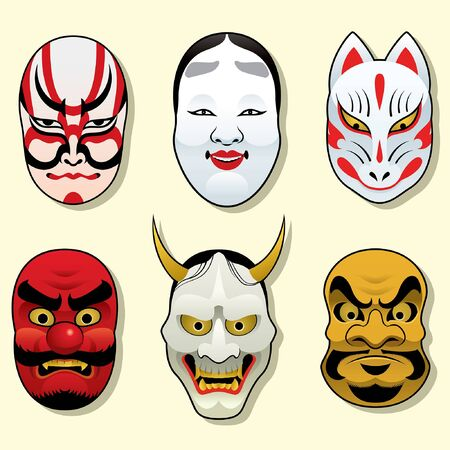 set vector of japanese traditional mask