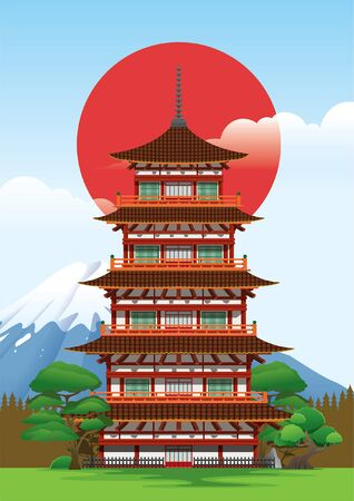 japanese traditional pagoda temple Иллюстрация