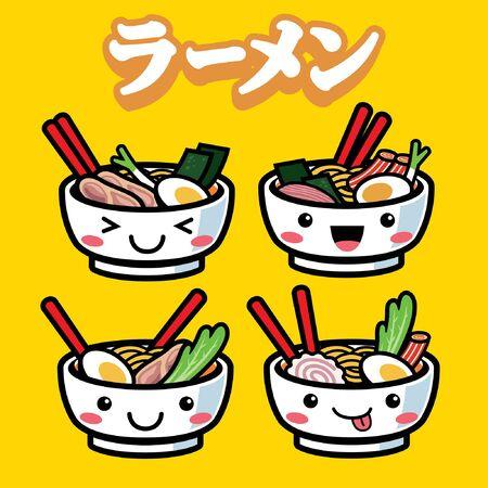 set of kawai japanese ramen noodle