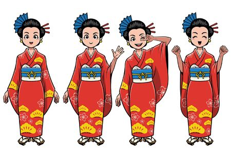 set bundle of japanese girl cartoon wearing kimono dress