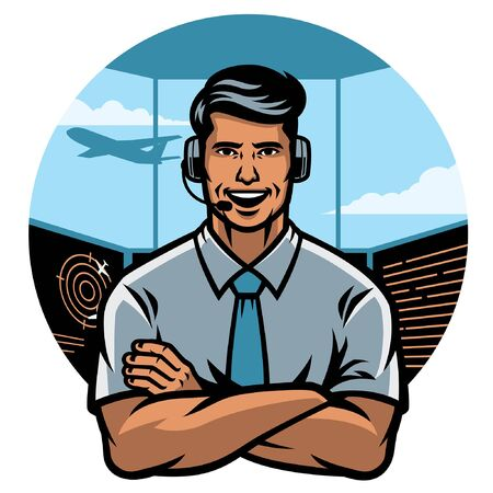 air traffic controller cross arm mascot character