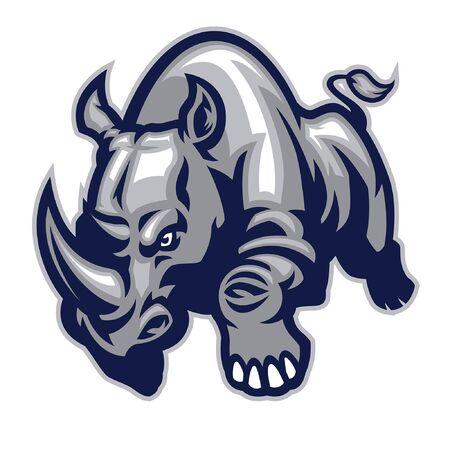 mascot design of angry rhino attack Archivio Fotografico - 134397634