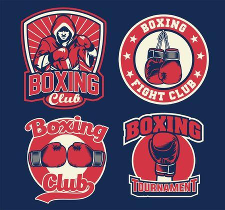 set vector of boxing badge