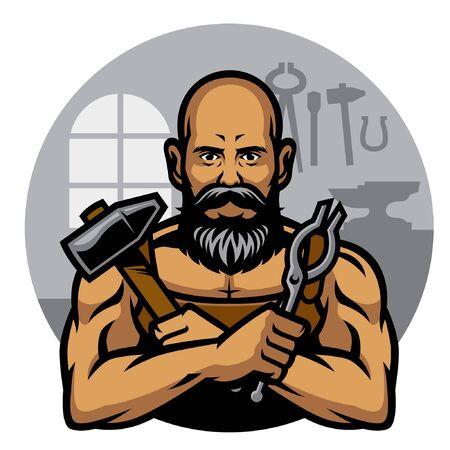 forgeron noir tenir des outils en métal Vecteurs