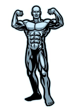 mascot of body building with muscle man flexing his arms Standard-Bild - 134397643