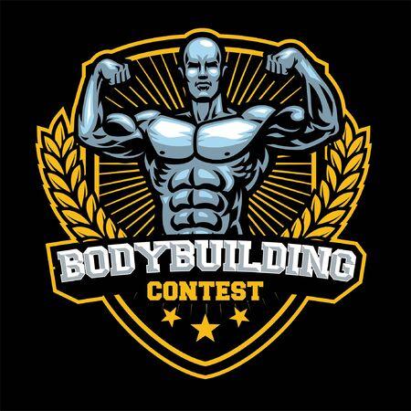 body building badge design Standard-Bild - 134397646