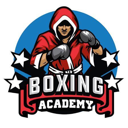 boxer posing attack badge design
