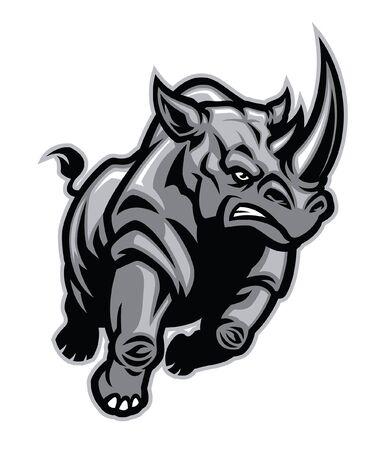 rinoceronte arrabbiato aggressivo in esecuzione