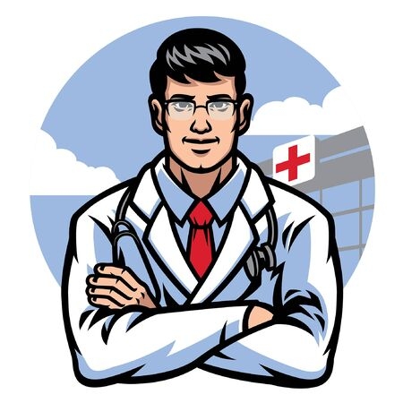 young doctor cross his arm