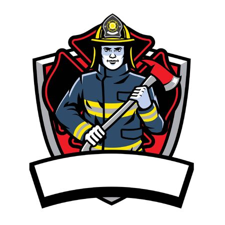 fire fighter mascot badge with blank banner for text