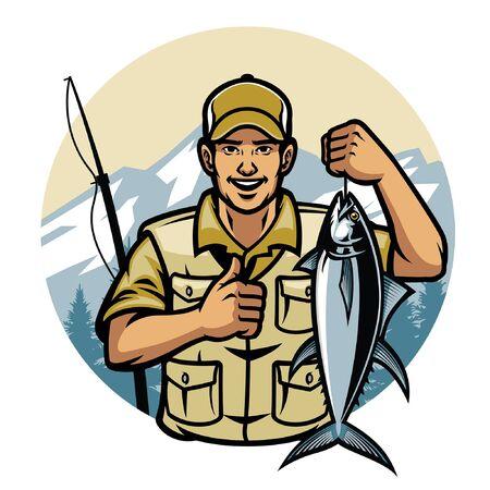 happy fisherman hold tuna fish