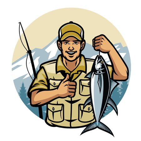 pêcheur heureux tenir le thon