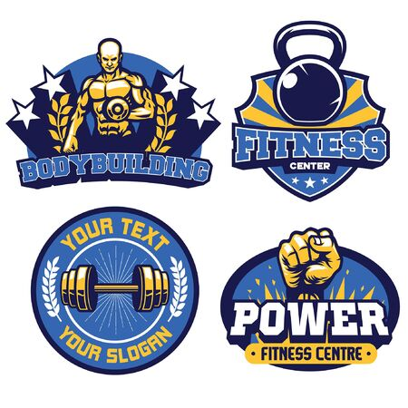 set bundle of fitness badge design Banco de Imagens - 136637798
