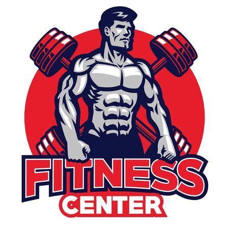 fitness mascot with muscle man character