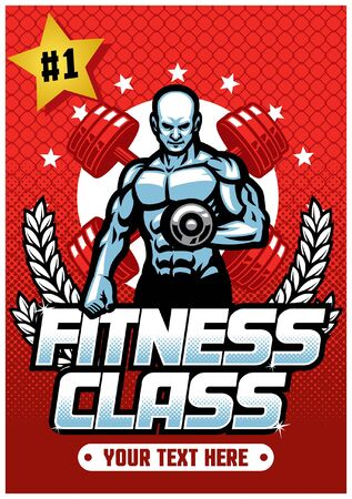 muscle man fitness hold barbell mascot character