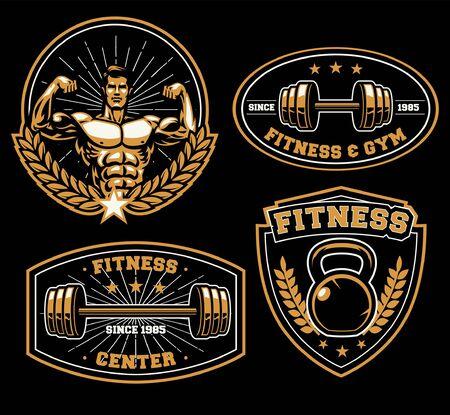 set bundle of vintage fitness badge design