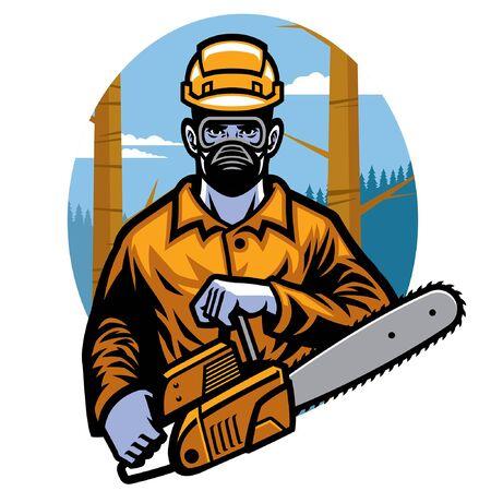 logging worker holding saw machine