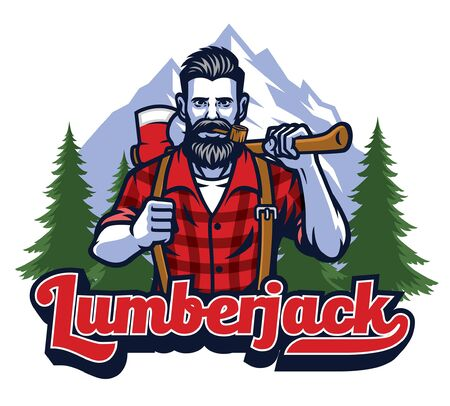 lumber jack hold axe mascot design