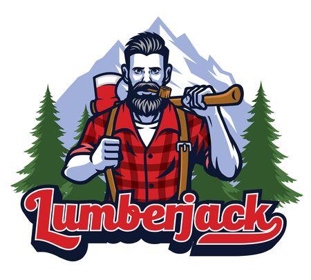 lumber jack hold axe mascot design