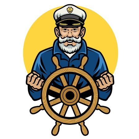 happy old sailor hold the ship wheel Фото со стока - 134397753