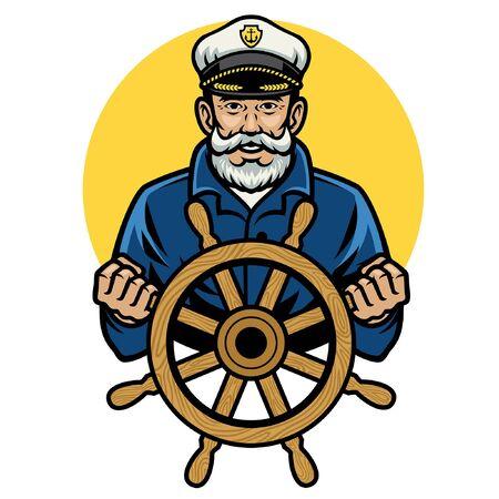 szczęśliwy stary marynarz trzyma koło sterowe Ilustracje wektorowe