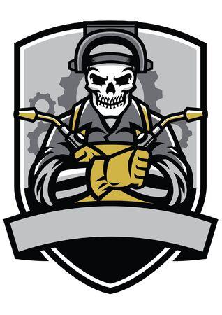 skull welding worker badge design Illustration