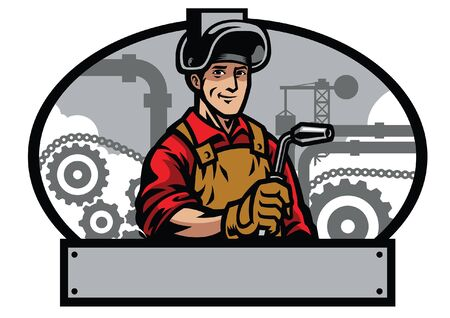 happy welding worker with the blank banner for text