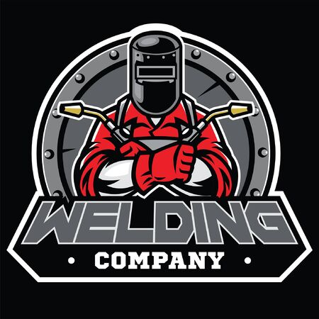 welding concept design with welder pose wearing the mask protector Illustration