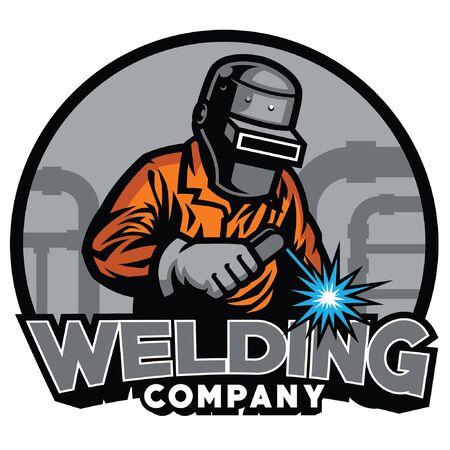 projekt odznaki spawalniczej z pracownikiem spawacza Ilustracje wektorowe