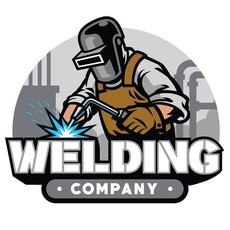 welding badge design with welder in action Stock fotó - 134397786