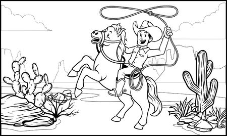 cowboy with lasso black and white coloring page Illustration