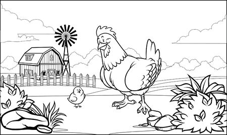 rooster at farm black and white coloring page
