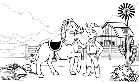 simple black and white cow girl cartoon