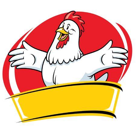 vettore di design distintivo del gallo felice con banner vuoto per il testo Vettoriali