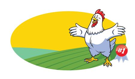 funny rooster carton with farm landscape