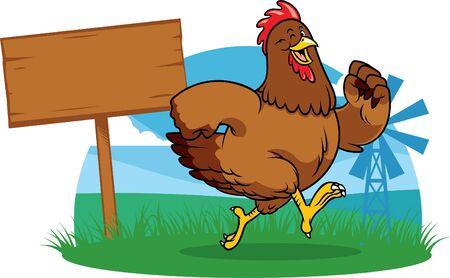 Cartoon des glücklichen Hahns, der auf dem Bauernhof läuft
