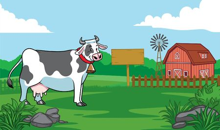 happy dairy cow with beautiful ranch landscape  イラスト・ベクター素材
