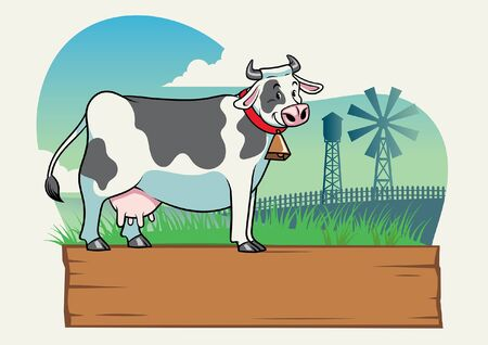 cute dairy cow at ranch landscape  イラスト・ベクター素材