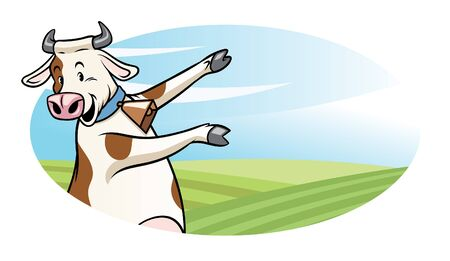 cute dairy cow dancing with nature background