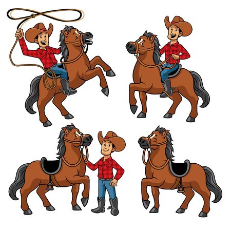 set vector of cowboy riding a horse with lasso 向量圖像