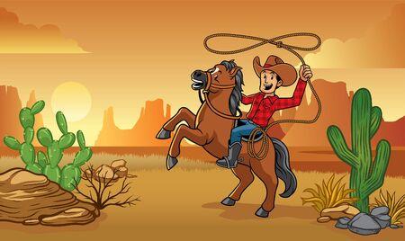 wild west cowboy cartoon riding a horse with desert background