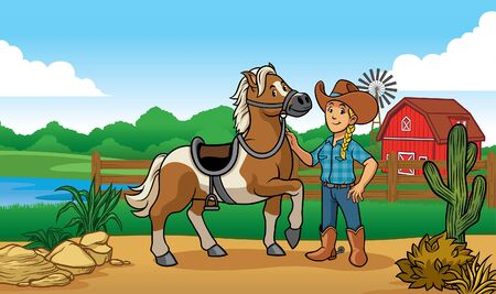 happy cartoon cowgirl in farm with her horse Ilustração