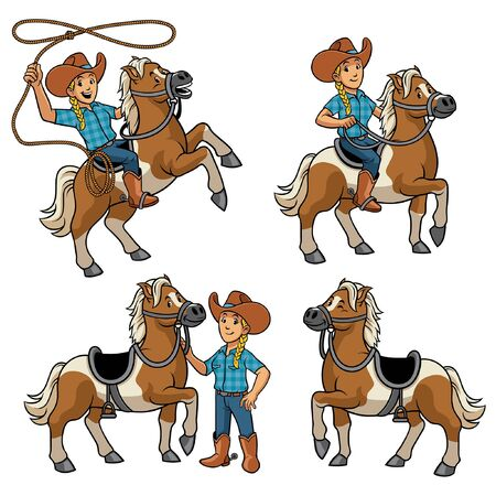 set vector of cowgirl and horse