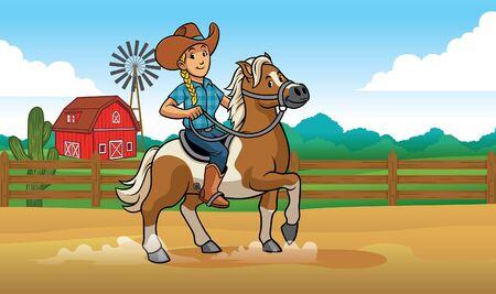 cowgirl cartoon riding a horse