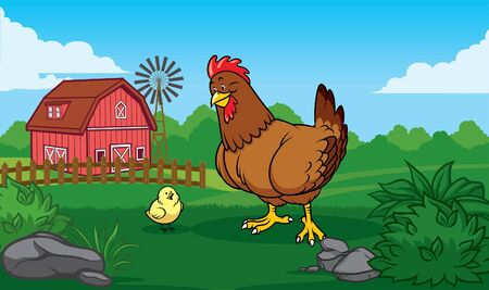 rooster and chick with background ranch landscape Ilustracja