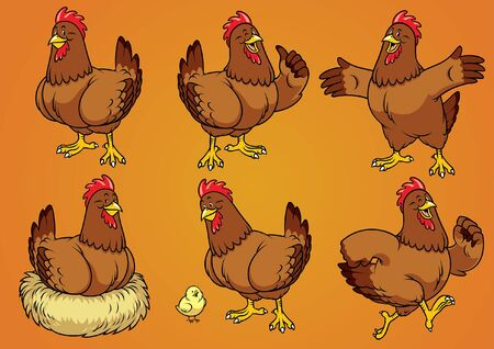 set vector of rooster and chick