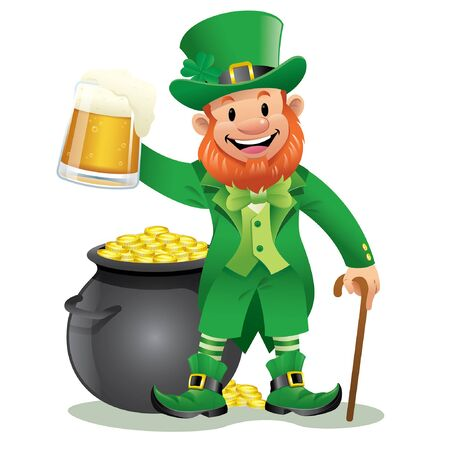 happy leprechaun hold the beer and pot of gold coin
