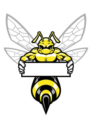 muscular hornet hold blank banner for text