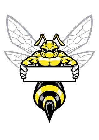 muscular hornet hold blank banner for text