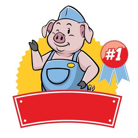 happy piglet cartoon badge with blank text for banner